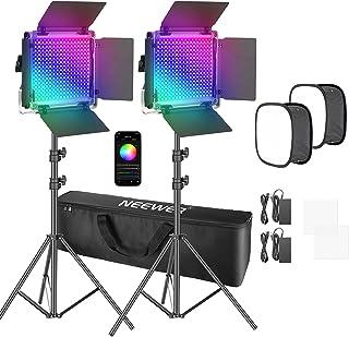 Neewer Set van 2 660 Pro RGB LED-videolampen met app-bediening, softbox kit, 360 graden volledige kleur, 50 W videoverlich...