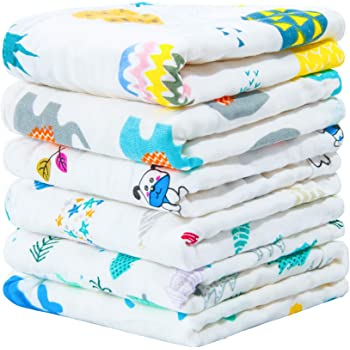 NTBAY 6 Pack Baby Muslin Washcloths, 6 Layers Natural Cotton Newborn Baby Face Towel with Animals Printed Design, Soft and Breathable Reusable Wipes and Shower Gift for Baby Registry, 10 x10 inches