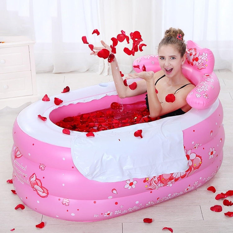 PRIDE S Thicker Insulation Medium Number Inflated Bathtub Fold Bath Tub Bath Barrels ( color   Pink )