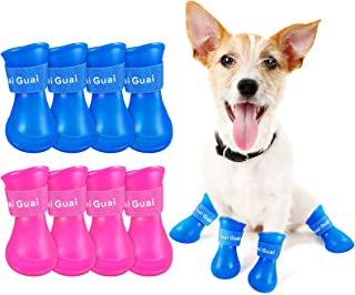 Geyoga 2 Sets of Puppy Dog Rain Boots Candy Color Protective Rain Shoes Resin Waterproof Non-Slip Adjustable Pet Claw Rain...