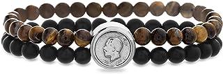 Steve Madden Stainless Steel Georgivs V Coin Double Row Beaded Bracelet for Men