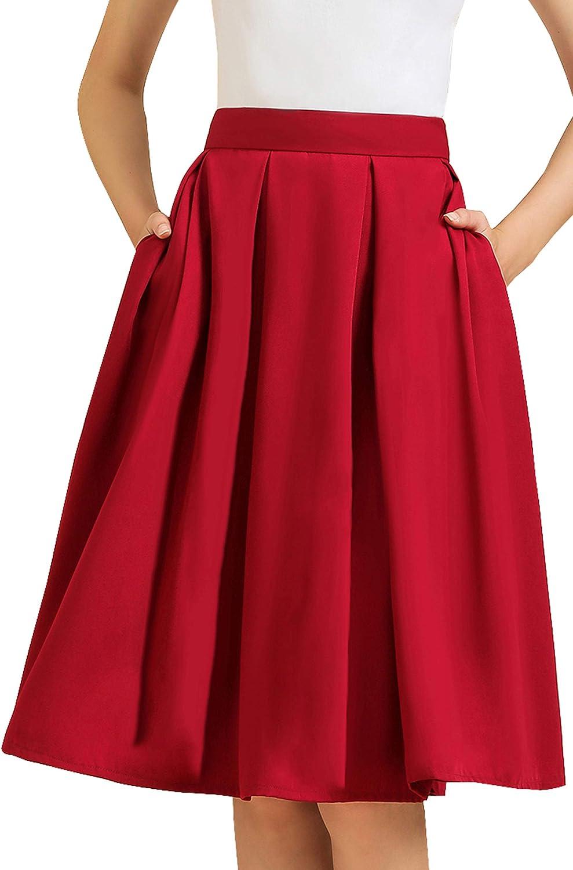 Women's High Waist A-Line Pockets Pleated Skirt Skater Flared Lined Midi Skirt