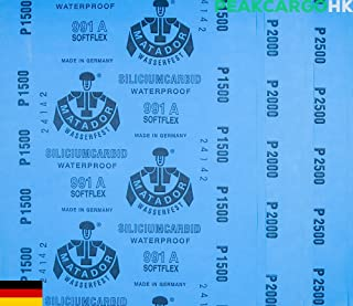 6-sheets Pack Precision Polishing Sanding Wet/Dry Waterproof Abrasive Sandpaper -Grit 1500 2000 2500 SOFTFLEX Germany