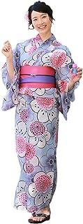 浴衣 レディース セット 薄紫地にレトロな花と丸菊 ときめき恋浴衣3点セット 浴衣 帯 下駄