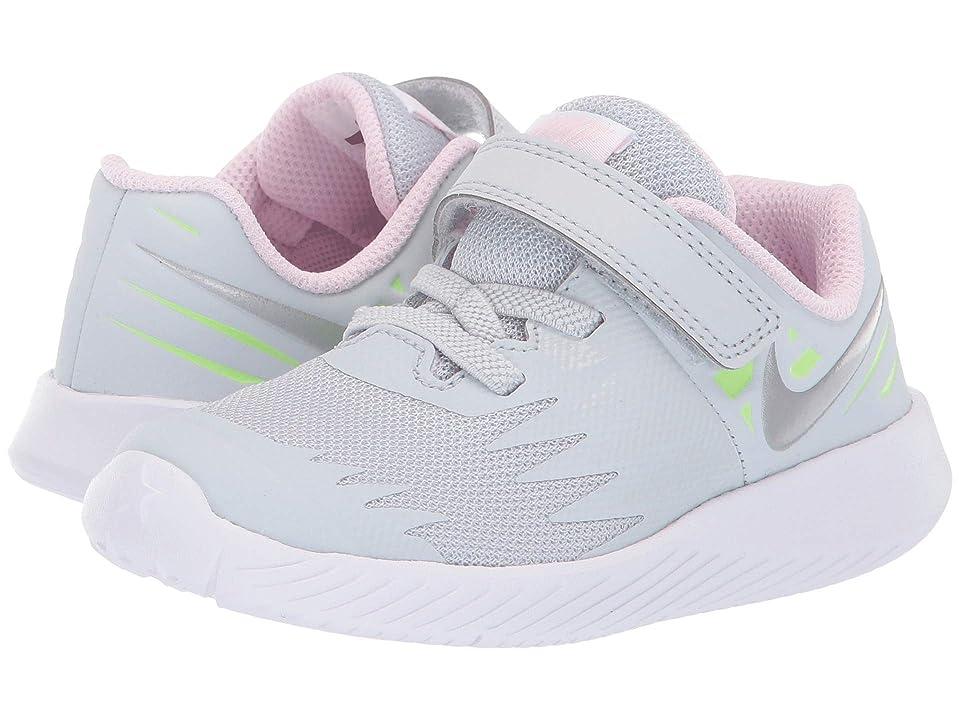 Nike Kids Star Runner TDV (Infant/Toddler) (Pure Platinum/Metallic Silver/Lime Blast) Girls Shoes