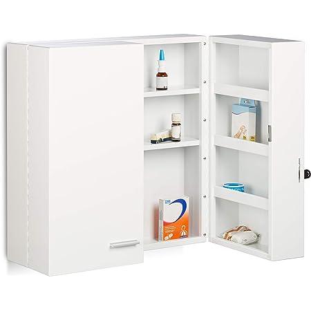 Relaxdays Armoire à pharmacie XXL en métal acier 2 portes fermables blanc 11 compartiments HxlxP: 53 x 53 x 20 cm, blanc