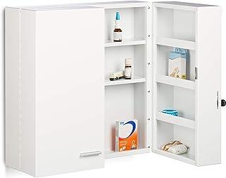 Relaxdays Armario botiquín, Dos Puertas, 11 Compartimentos, Metálico, Blanco, 53 x 53 x 20 cm, Acero
