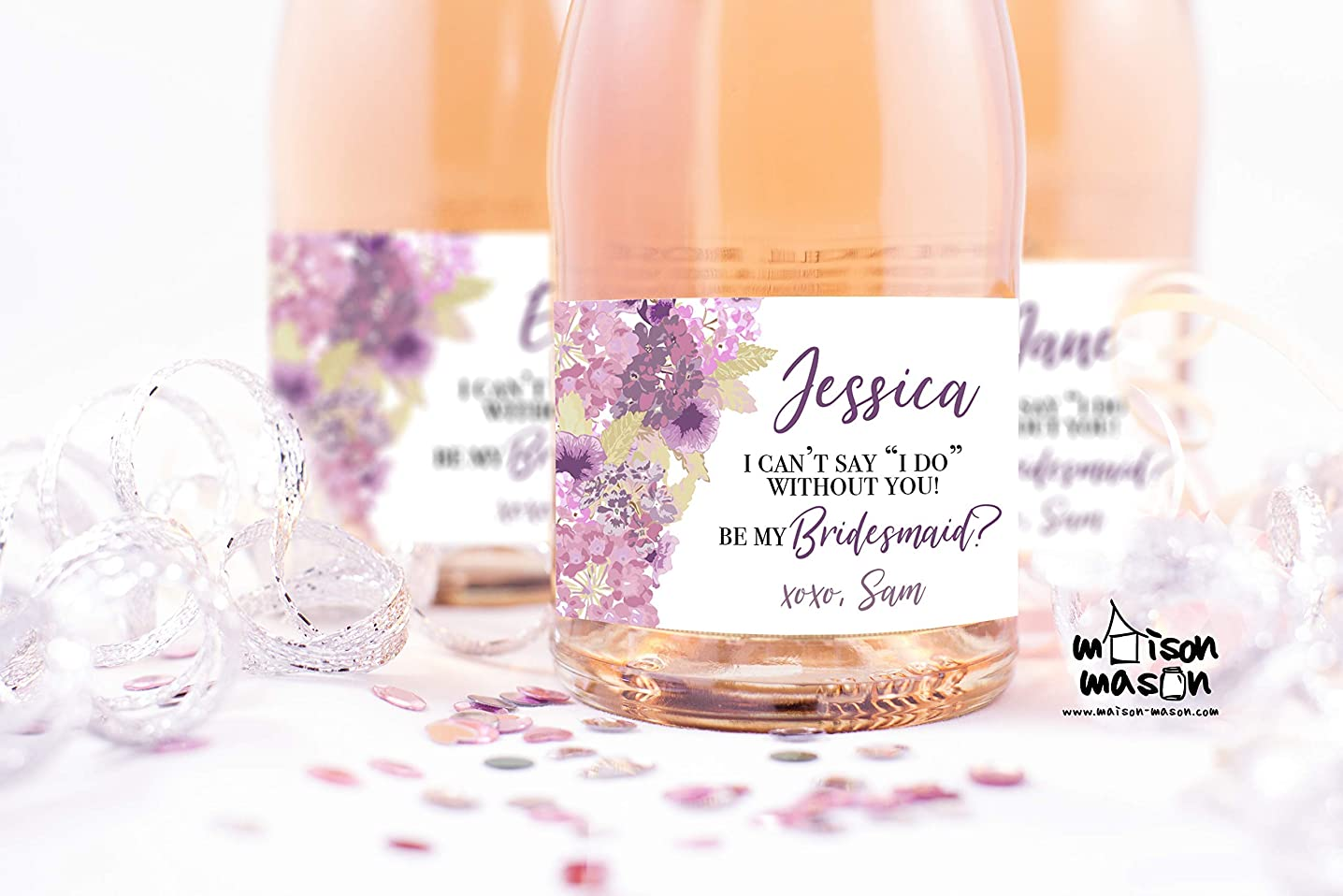 CUSTOM Floral Purple Will You Be My Bridesmaid, Will You be My Maid of Honor Mini Champagne or Wine Labels, 3