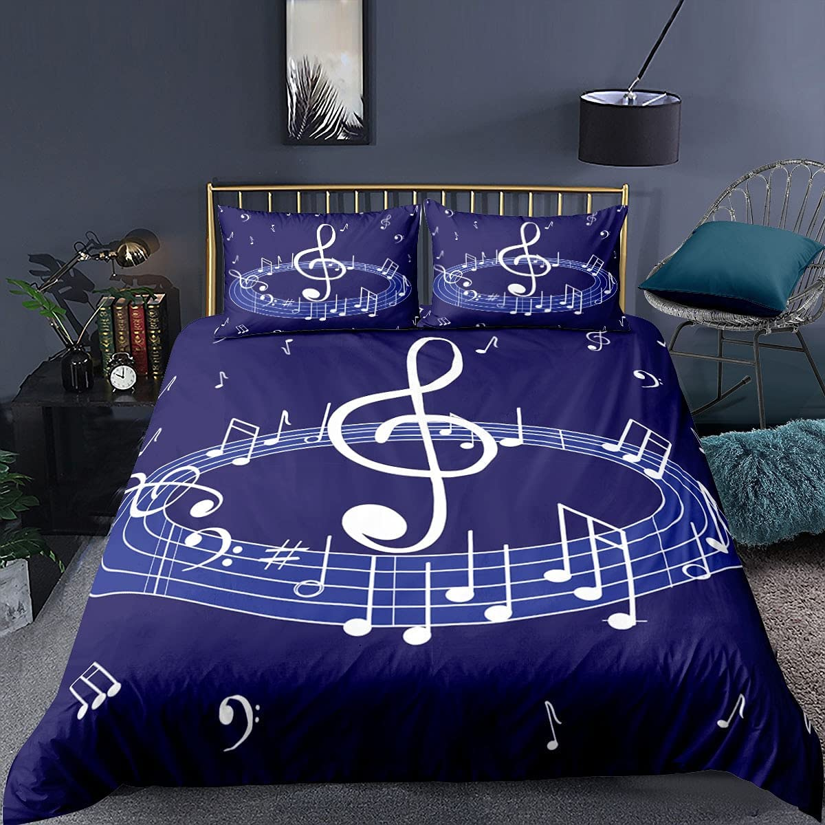 Blue Bedding Set Discount mail order Musical Note Duvet Cover She Printed Pillowcase Ranking TOP1