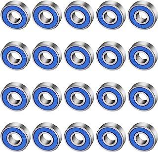 CODIRATO 20 PCS Antifricción para Monopatín 608rs, Cojinetes de Patines de Rueda ABEC-9 Miniatura Radial Rodamientos para Monopatines, Patines (8mm x 22mm x 7mm)
