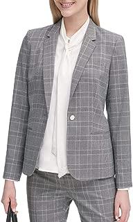 Women's Petite Plaid One Button Jacket