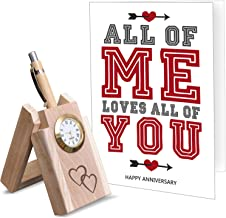 TIED RIBBONS Wooden Penstand and Greeting Card for Husband   Marriage for Men for Wife for Couple