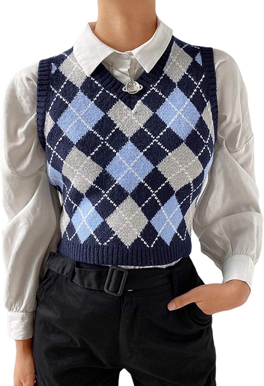 Yingzhen Women's Charlotte Mall Knit Sweater Vest Y2K Prep Argyle Plaid E-Girls overseas