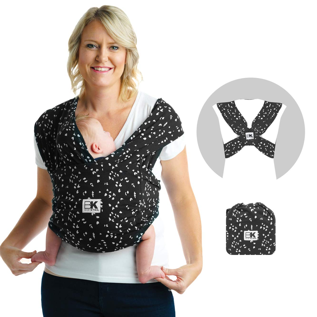 Baby K'tan Print Baby Wrap Carrier, Infant and Child Sling - Simple Pre-Wrapped Holder for Babywearing - No Tying or Rings - Carry Newborn up to 35 lbs, Sweetheart, S (W Dress 6-8 / M Jacket 37-38)