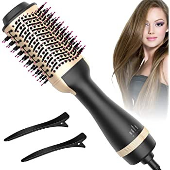 Hot Air Brush, Bongtai Hair Dryer Brush One Step Hair Dryer & Volumizer 3 in 1 Brush Blow Dryer Styler for Rotating Straightening, Curling, Salon Negative Ion Ceramic Blow Dryer Brush(Golden)