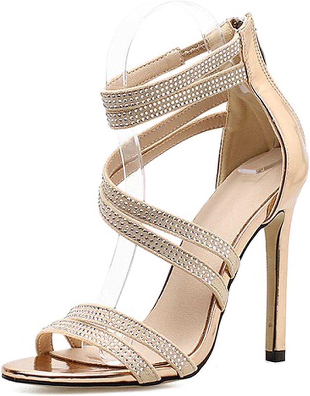 Ches Sparkling Champagne Black Diamond Crystal High Heels Women Sandals 2018 New Summer Sexy Club Heels Sandals Women
