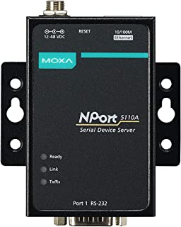 MOXA NPort 5110A - 1 Port Device Server, 10/100 Ethernet, RS-232, DB9 Male, 0 to 60C Operating Temperature