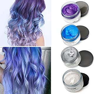 MOFAJANG Temporary Hair Color Wax Hair Colorants 4 Colors - White Sliver Blue Purple Fun and Effective Modeling Fashion DIY Hair