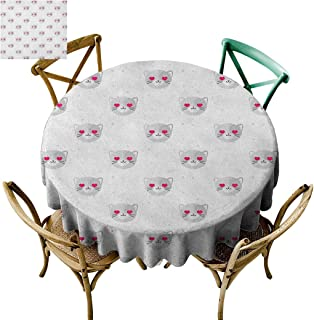 Modubele Emoji Party Tablecloth,Cat Faces with Pink Heart Shaped Eyes Romantic Animal Kitty Mascot in Love, Pale Grey Pink White,43Inch.Round Table Cover