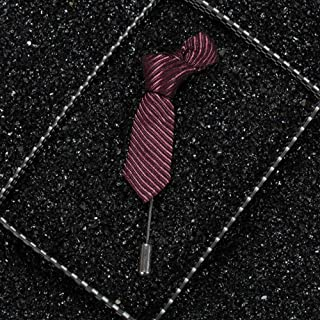 1Pcs Fashion Jewelry Trendy Men Brooches Tie Shape Wedding Suit Decor | color - Red