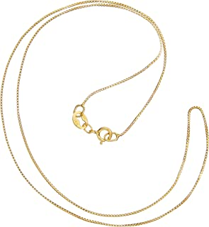 14K Yellow Gold Box Link Chain Necklace | 14 Inch to 22 Inch Lengths Available | .60mm to 1.0mm Thick