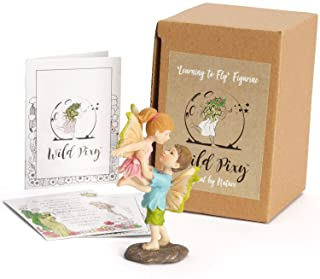 WILD PIXY Miniature Fairy Figurine 'Learning to Fly' Girl and Boy Fairy Garden Accessories for Indoor or Outdoor Use, Whim...