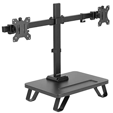 VIVO Black Freestanding Dual Monitor Stand for up to 27 inch Screens, Ergonomic Monitor Mount with 16 inch Wide Desktop Riser Storage Organizer Base, Fits VESA up to 100x100 (STAND-V102SF)