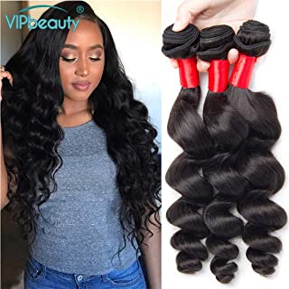 VIPbeauty Virgin Hair Bundle Deals Loose Wave 3 Bundles of Brazilian Hair Cheap Virgin Hair Bundles Loose Wavy Bundles Natural Black Loose Wave Thick end (12 14 16)