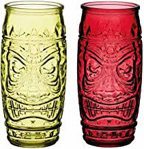 BarCraft Tiki Cocktail Glasses, 600 ml-Red and Green (Set of 2), 7 x 7.5 x 17 cm