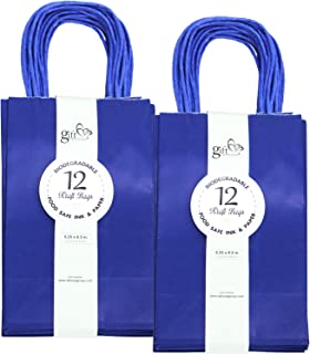 24CT SMALL ROYAL BLUE BIODEGRADABLE, FOOD SAFE INK & PAPER, PREMIUM QUALITY PAPER (STURDY & THICKER), KRAFT BAG WITH COLORED STURDY HANDLEs (Small, Royal Blue)