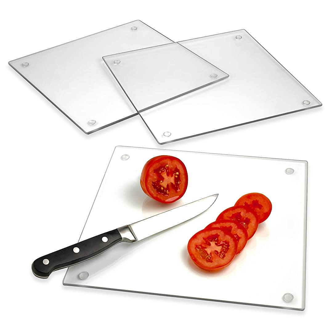 Tempered Glass Cutting Board – Long Lasting Clear Glass – Scratch Resistant, Heat Resistant, Shatter Resistant, Dishwasher Safe. (3 Square 10x10