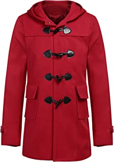 Men's Woollen Duffle Trench Coat Cotton Toggle Winter Hoodie Overcoat Jacket