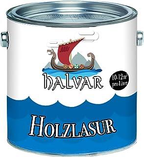 Halvar Holzlasur skandinavische Lasur wetterfest - atmungsaktiv - Lichtbeständig - aromatenfrei - tropfgehemmt - UV-beständig in 12 Farbtönen Außen-Lasur Holz-Schutz Holz-Öl 1 L, Farblos