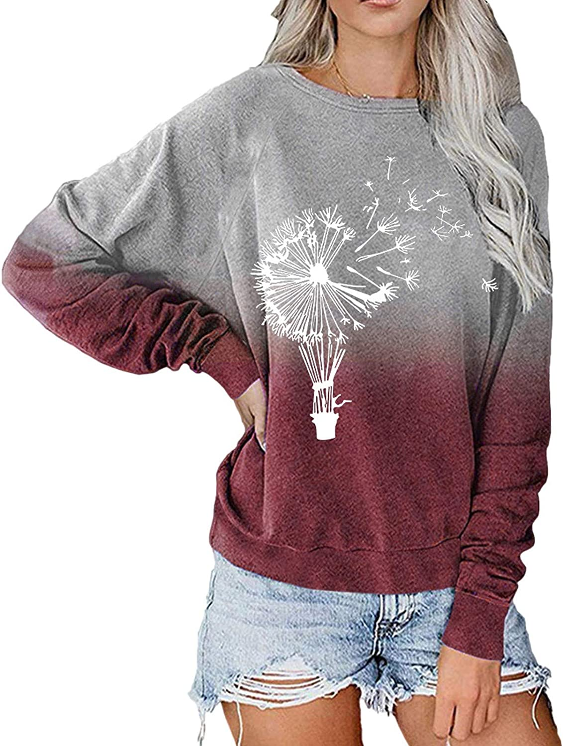 Long Sleeve Tops for Women,Womens Long Sleeve Pullover Fashine Colorful Tie Dye Printed Plus Size Crewneck Sweatshirts