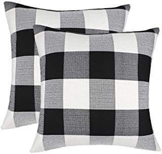 Best 4TH Emotion Set of 2 Farmhouse Buffalo Check Plaid Throw Pillow Covers Cushion Case Cotton Linen for Fall Home Decor Black and White, 20 x 20 Inches Reviews
