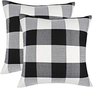Best 4TH Emotion Set of 2 Farmhouse Buffalo Check Plaid Throw Pillow Covers Cushion Case Cotton Linen for Fall Home Decor Black and White, 24 x 24 Inches Review