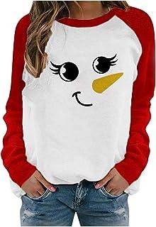 Damestrui met sneeuwpop-print, sweatshirt, lange mouwen, kleurblok, blouse, ronde hals