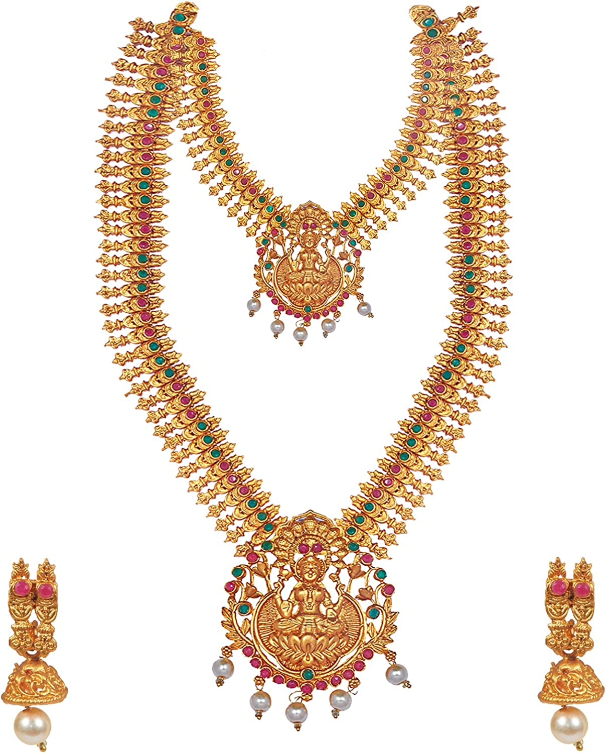 Bodha Tradtional Indian Handcrafted Antique Gold Plated Temple Jewellery Combo Bridal Dulhan Necklace Set With Matching Earring & Pearls For Women (SJ_2946)