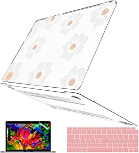 B BELK Compatible with MacBook Air 13 inch Case M1 2021 2020 2019 Release Model: A2237 A2179 A1932, Glitter Hard Shell Case + Keyboard Cover + Screen Protector, MacBook Air M1 Case, White Flower