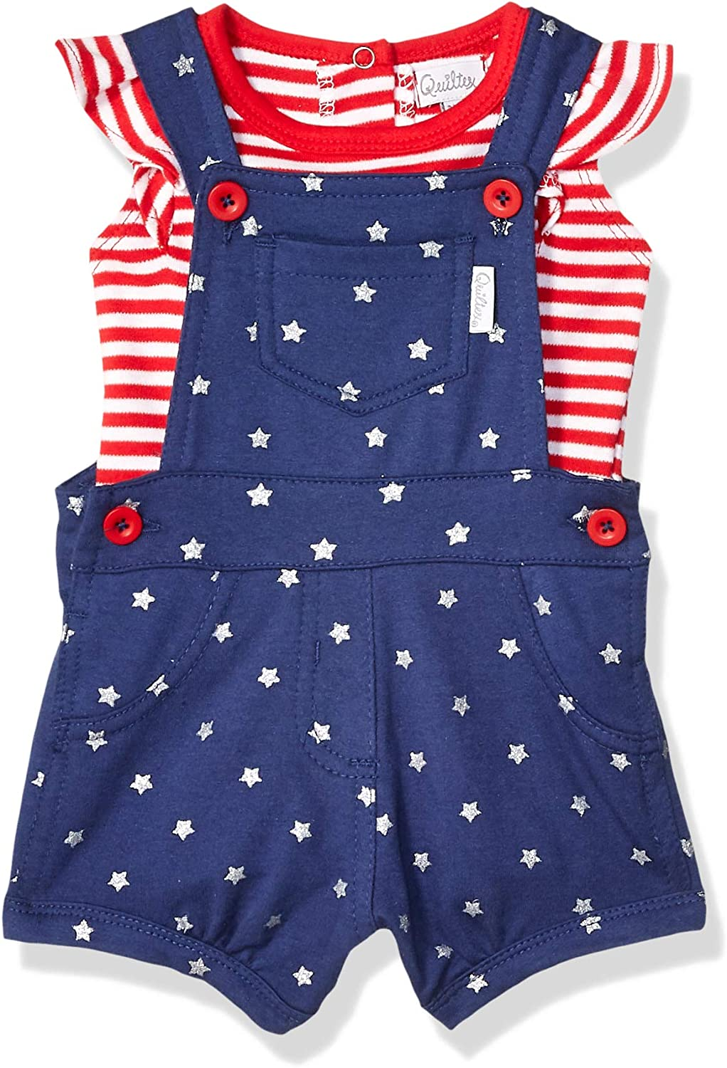 Quiltex Baby Girls Toddler Stars 2 Pc Shortall Set and Bodysuit