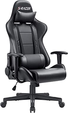 Furniwell Gaming Chair Office Computer Chair Racing PC Desk Chair Adjustable Swivel High Back Carbon Fiber Style PU Leather Executive Ergonomic Chair with Headrest and Lumbar Support(Black)