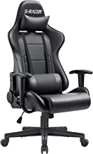 Furniwell Gaming Chair Office Computer Chair Racing PC Desk Chair Adjustable Swivel High Back Carbon Fiber Style PU Leathe...
