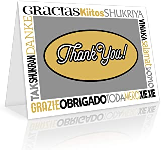 Thank You Cards - 50 Bulk Set of 4x7 Multi-Language in White, Yellow and Gray Colors Blank Greeting Notes with Envelopes - Perfect for Invitations and Gifts for Wedding, Baby Shower and All Occasions