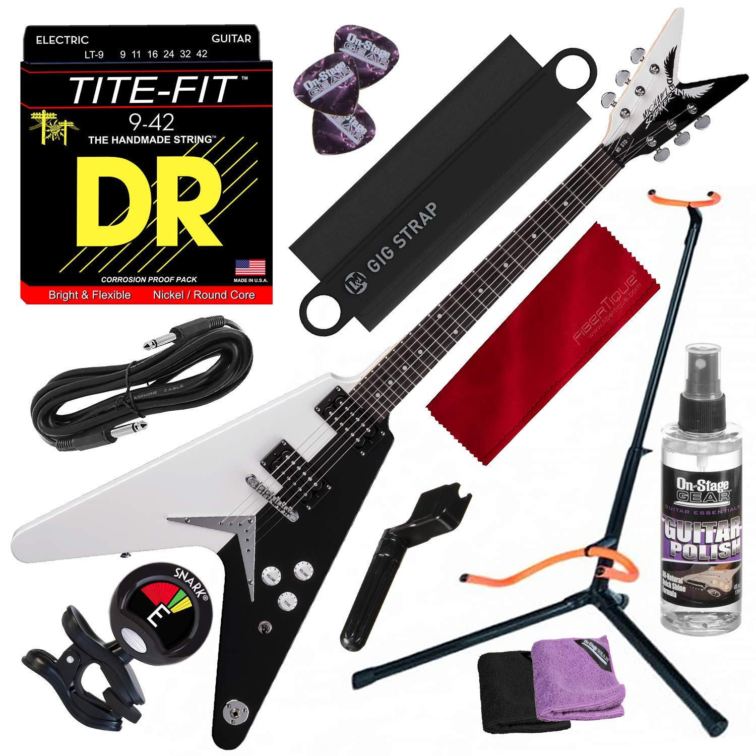 Cheap Dean Michael Schenker Standard Electric Guitar with Guitar Stand & Clip-on Tuner Deluxe Accessory Bundle Black Friday & Cyber Monday 2019