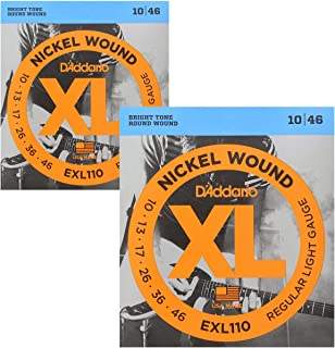 DAddario Regular Light Nickel Wound Electric Guitar Strings 10-46 2 Pack
