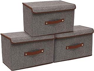 CASATOCA Boîtes de Rangement avec Couvercle, Lot de 3, Paniers avec Poignées en PU, pour Vêtements, Jouets, Livres, Couver...