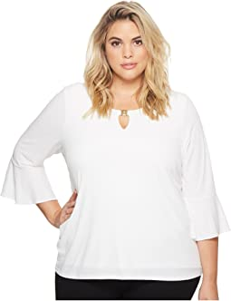 Calvin Klein Plus - Plus Size Ruffle Sleeve Top with Bar Hardware