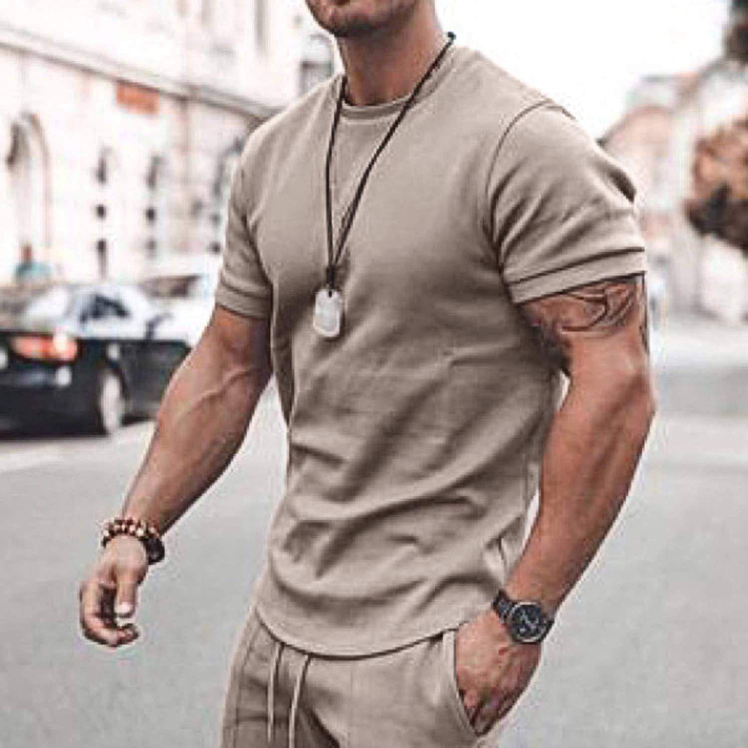 Men 2 Piece Outfits Summer Casual Crew Neck Muscle Long/Short Sleeve Tee Shirts and Classic Fit Sport Shorts Set Tracksuit