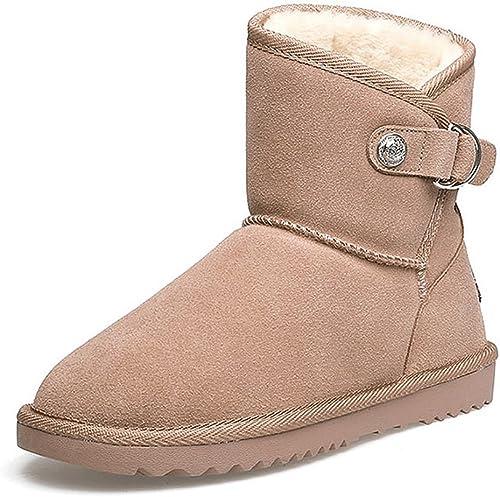 Stiefel de nieve de las señoras Stiefel de cuero casuales de invierno casual media schuhe de cuero caliente ( Farbe   braun , Tamaño   US 7\UK 6\EUR 39 )