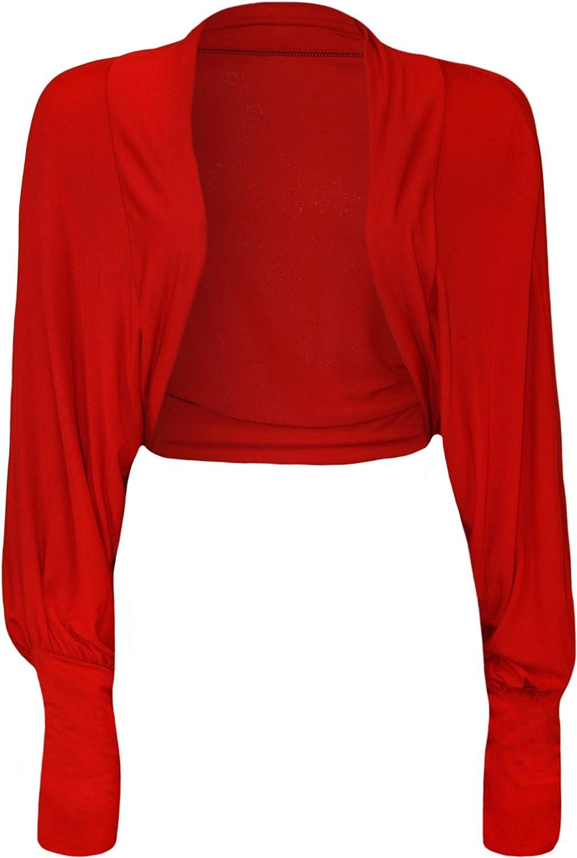 WearAll Womens Batwing Shrug Long sleeve Bolero Cardigan - Red - US 8-10 (UK 12-14)